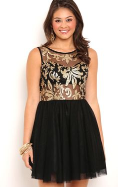 Deb Shops Ballerina Skirt Dress with Sequin Illusion Mesh Bodice