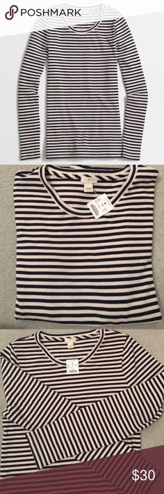 J. Crew NWT striped ribbed long sleeve tee navy L NWT size large navy and cream striped crew neck rubbed knit top. Sold out style J. Crew Tops Tees - Long Sleeve