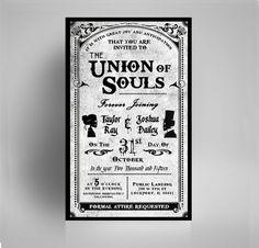 Wedding Invitation Halloween Skulls / Gothic Victorian - custom printable document. Digital PDF. Printing Options + Matching Envelopes Avail