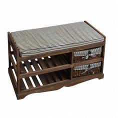 Modern Storage Bench Organizer Furniture Shoes Rack Wooden Brown Shelves Baskets #ModernStorageBench #Modern