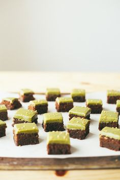 rich little brownies with matcha glaze | my name is yeh