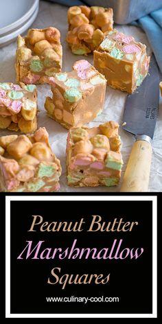 peanut butter squares Peanut Butter Marshmallow Squares are a classic retro no-bake dessert Candy Recipes, Sweet Recipes, Baking Recipes, Dessert Recipes, Appetizer Recipes, Dessert Simple, Christmas Desserts, Christmas Baking, Christmas Stuff