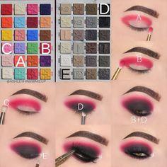 Pink Eye Makeup, Smoky Eye Makeup, Eye Makeup Steps, Makeup Eye Looks, Beautiful Eye Makeup, Colorful Eye Makeup, Eyeshadow Makeup, Eyeshadows, Lipsticks