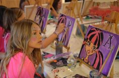 Monster High birthday party. Painting activity, how fun!
