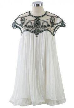 Contrast Beads Embellished Pleated Dolly Dress - Retro, Indie and Unique Fashion