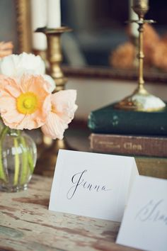 Elegant escort cards - print in emerald ink. Gold Wedding, Summer Wedding, Dream Wedding, Wedding Centerpieces, Wedding Decorations, Rustic Wedding Inspiration, Little Black Books, Wedding Stationary, Wedding Beauty