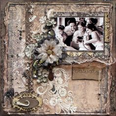 Casual ~ Beautifully embellished and feminine bridesmaids LO. Wedding Scrapbook, Scrapbook Cards, Scrapbook Templates, Scrapbook Layout Sketches, Scrapbooking Layouts, Heritage Scrapbook Pages, Bridesmaid Pictures, Decoupage, Mixed Media Scrapbooking