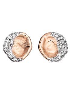 monica vinader riva rose gold diamond stud earrings