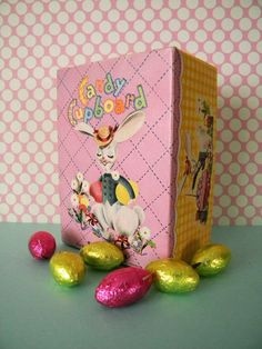 Vintage Easter Chocolate Egg Box Candy Cupboard Empty Box with Beautiful Graphics by SongbirdSalvation on Etsy https://www.etsy.com/listing/269256584/vintage-easter-chocolate-egg-box-candy