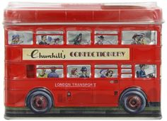 Churchill's London Bus Money Box Tin with Toffees 200 g: Amazon.co.uk: Grocery