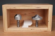 Lapped mitre router bits designed to create strong self-aligning mitre joints in plywood and MDF.