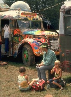 A family of festival-goers at Woodstock, 1969.