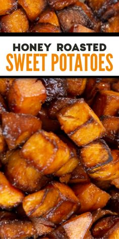This is what honey roasted sweet potatoes should look like right after they come out of the oven. This recipe takes simple twist on a classic side dish. A little bit olive oil, lemon, and honey (no sugar! Potato Sides, Potato Side Dishes, Vegetable Side Dishes, Vegetable Recipes, Vegetarian Recipes, Cooking Recipes, Healthy Recipes, Honey Recipes, Easy Cooking
