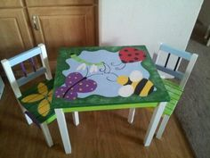 Hand painted butterfly~bee~ladybug table& chairs.