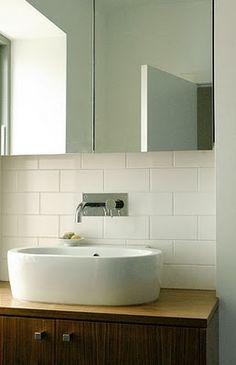 Well executed. Mirror storage and timber cupboard works with these tiles