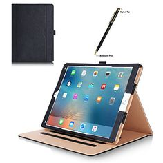 Apple iPad Pro Case  ProCase Leather Stand Folio Case Cover for 2015 Apple iPad Pro 12.9 inch with Multiple Viewing angles auto Sleep/Wake Document Card Pocket (Black)