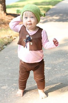 DIY Shrek baby costume for girls & boys #sewing or #knitting
