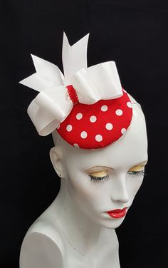 Red and white polka dot button beret fascinator hat, large white bow detail, elastic fixing