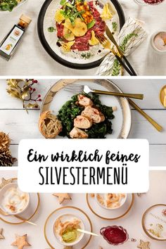 Silvestermenü New Year's Eve menu Carpaccio Corn Chicken Baked Ice Appetizer Main Course Dessert Spinach Side Dishes Pear Ice New Years Dinner, New Year's Food, Food Food, Snacks Für Party, Tapas, Side Dishes, Quinoa, Easy Meals, Dessert Recipes