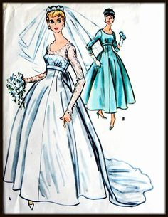 Rare McCall's Bridal Gown Pattern from the 50's or by Elliesstudio, $125.00