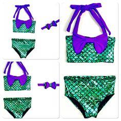 AURORA-mermaid print girls bikini, mermaid two-piece bikini, mermaid theme party bikini, little mermaid inspired bikini, The Little Mermaid by MTBGBOUTIQUE on Etsy https://www.etsy.com/listing/237414504/aurora-mermaid-print-girls-bikini