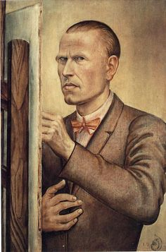 babylonbabys:  Otto Dix, Self-portrait with easel, 1922