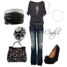 """Black and Silver"" by cindycook10 on Polyvore"