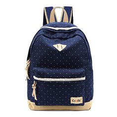 Coofit Womens Lightweight Lace Polka Dot Backpack Canvas School Shoulder Daypack