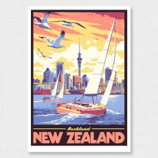 Auckland Art Print by Ross Murray Tourism Poster, Travel Posters, Vintage Art Prints, Vintage Colors, Craft Beer Labels, Nz Art, Kiwiana, Ship Art, Auckland