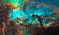 This region is in the Large Magellanic Cloud is a firestorm of raw stellar creation, perhaps triggered by a nearby supernova explosion. It lies about 170,000 light-years away near the Tarantula nebula, one of the most active star-forming regions in our Local Group of galaxies.