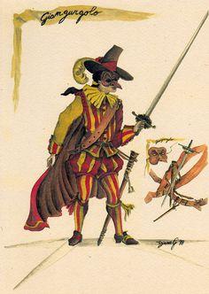 Giangurgolo:Maschera di origine calabrese, deve il suo nome, secondo alcuni, a Giovanni Golapiena, mentre secondo altri è una corruzione di Zan Gurgola, per via del suo insaziabile appetito.