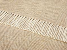 Variegated Herringbone throw in 'natural' lambswool by Bronte Moon.