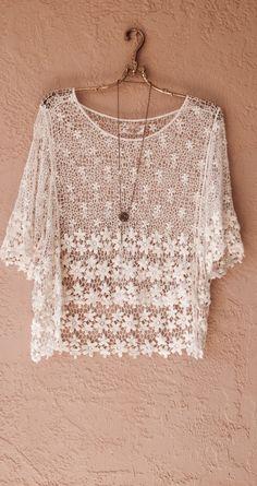 Crochet flower design crop top for summer resort boho beach walk