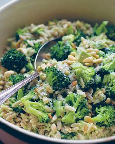 Whole-Wheat Orzo Salad with Broccoli-Pine Nut Pesto    Say good-bye to mayo-laden pasta salads and hello to a plateful of whole grains and veggies. This dish gets creaminess from a bit of creme fraiche and Mediterranean flavor from garlic, pine nuts, and Parmesan cheese.  Get the Orzo with Pesto Recipe