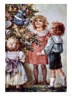 Vintage Children around Christmas Tree