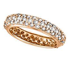 Pave Set Eternity Diamond Ring Band in 14K Rose Gold (1.58 ctw)-Allurez.com