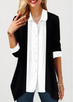 Crinkle Chest Turndown Collar Button Up Shirt - Women's Fashion Trends Trendy Tops For Women, Blouses For Women, Women's Blouses, Fashion Blouses, Stylish Tops, Party Wear Gowns Online, Manga 3 4, Cashmere Turtleneck, Collar Shirts