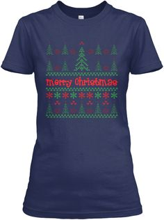 Christmas Snow Design Navy T-Shirt Front