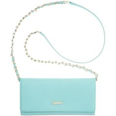 Dkny Bryant Park Saffiano Leather Wallet Clutch With Chain Handle ($103) ❤ liked on Polyvore featuring bags, handbags, clutches, aqua, chain handle handbags, dkny purses, saffiano leather handbag, dkny handbags and white handbags