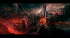 volcano city landscape concept art - Google Search