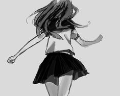 Monochrome, Black and white, Boy, Girl, cool, Sad, Anime, Manga, Art, Love, School, Uniform