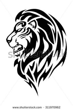 Simple illustration of a lion head in white