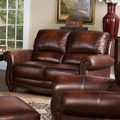 Vendor 1919 James Traditional Leather Loveseat with Rolled Arms and Nailhead Trim - Becker Furniture World - Love Seat Twin Cities, Minneapolis, St. Leather Loveseat, Nebraska Furniture Mart, Wood Beams, Leather Furniture, Living Room Furniture, Love Seat, Upholstery, Chair, Woodstock