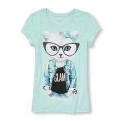 Girls Short Sleeve Glasses 'Glam' Cat Graphic Tee