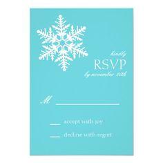 Jumbo Snowflake RSVP Cards (Teal) Invitations
