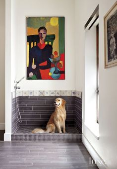 Burrows cabinets white painted laundry room cabinets with tiled dog 49 chic spaces with dogs solutioingenieria Choice Image