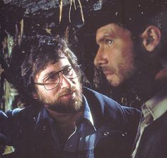 Steven Spielberg and Harrison Ford on the set of Raiders of the Lost Ark (1981)