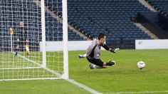 Elgin City keeper saves a penalty