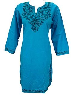 Indian Tunic Dress Kurta Neck Embroidery Cotton Long Kurti M Mogul Interior http://www.amazon.com/dp/B012G1UAZ0/ref=cm_sw_r_pi_dp_CGn3vb0W10C2P