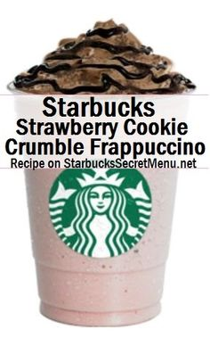 Starbucks Strawberry Cookie Crumble Frappuccino Strawberries and Creme Frappuccino Add extra strawberry juice Add java chips Top with chocolate whipped cream, mocha drizzle and cookie crumble topping Starbucks Secret Menu Items, Starbucks Secret Menu Drinks, Frappuccino Recipe, Starbucks Frappuccino, Coffee Drink Recipes, Coffee Drinks, Best Starbucks Coffee, Starbucks Strawberry, Strawberry Cookies